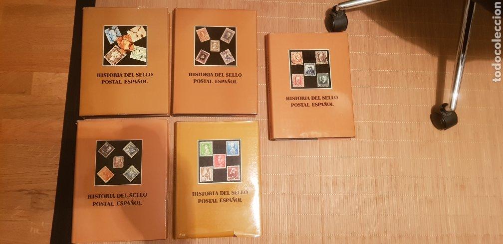 LIBROS HISTORIA DEL SELLO POSTAL ESPAÑOL 5 TOMOS EDITORIAL LESSA (Filatelia - Sellos - Catálogos y Libros)