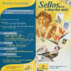 Selos: ESPAÑA. SELLOS ... Y MUCHO MÁS. BOLETÍN INFORMATIVO Nº 4. VERANO 2006. Lote 227019740