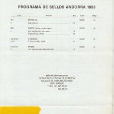 Selos: ESPAÑA. FOLLETO EMISIONES DE SELLOS 1993. SERVICIO FILATÉLICO. Lote 227023621