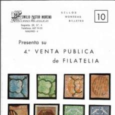 Sellos: CATÁLOGO 4ª VENTA PÚBLICA DE FILATELIA - EMILIO PASTOR MORENO - HOTEL MELIÁ (MADRID, 1977).. Lote 243799580