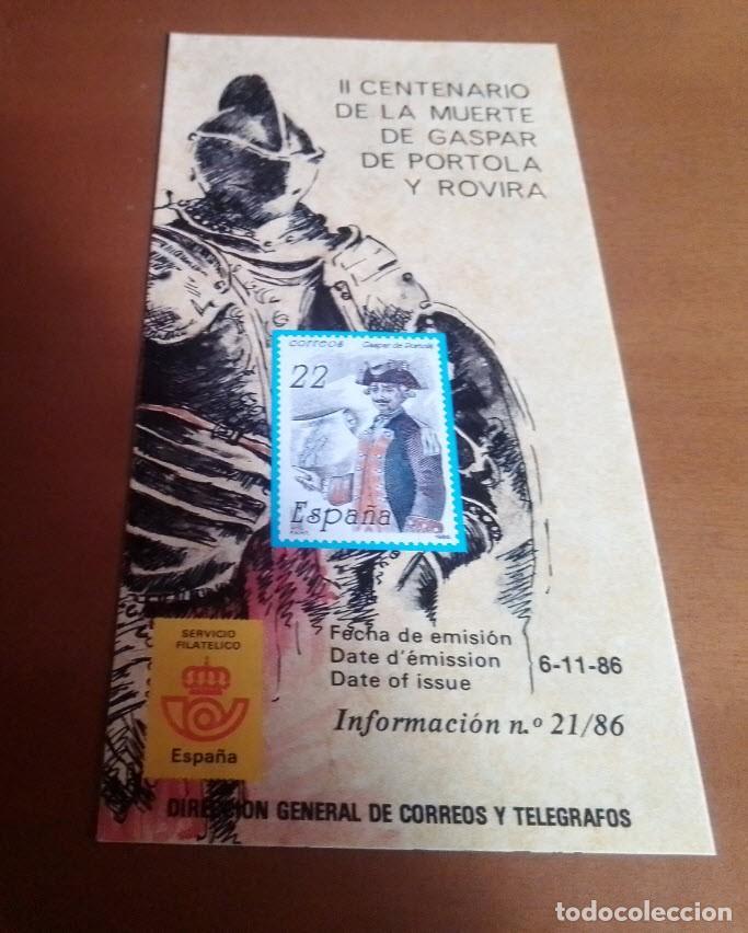 FOLLETO INFORMACION Nº 21/86 II CENTENARIO DE LA MUERTE DE GASPAR DE PORTOLA Y ROVIRA 6-11-86 (Filatelia - Sellos - Catálogos y Libros)