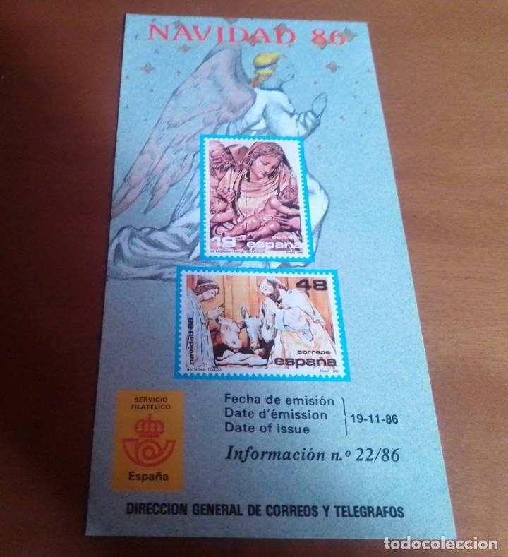 FOLLETO INFORMACION Nº 22/86 NAVIDAD 86 19-11-86 (Filatelia - Sellos - Catálogos y Libros)