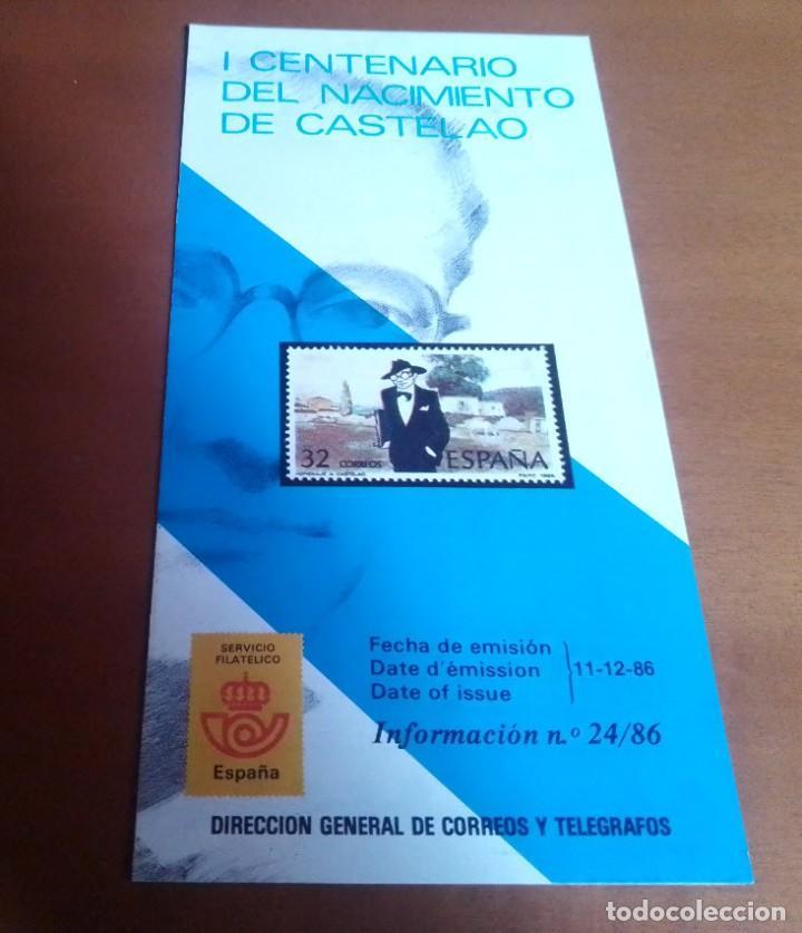 FOLLETO INFORMACION Nº 24/86 I CENTENARIO DEL NACIMIENTO DE CASTELAO 11-12-86 (Filatelia - Sellos - Catálogos y Libros)