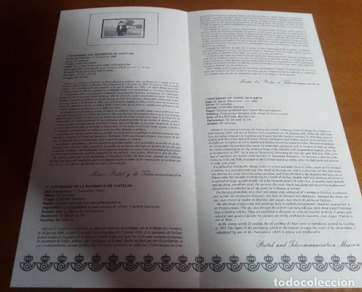 Sellos: FOLLETO INFORMACION Nº 24/86 I CENTENARIO DEL NACIMIENTO DE CASTELAO 11-12-86 - Foto 2 - 253471280