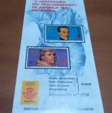 Sellos: FOLLETO INFORMACION Nº 15/91 V CENTENARIO DEL DESCUBRIMIENTO DE AMERICA PERSONAJES 15-10-91. Lote 254748475