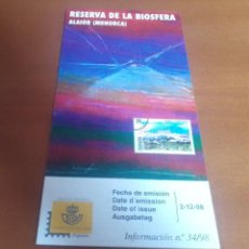 Sellos: FOLLETO INFORMACION Nº 34/98 RESERVA DE LA BIOSFERA ALAIOR MENORCA 1998 2-12-98. Lote 261930540