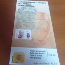 Sellos: FOLLETO INFORMACION Nº 35/98 XXX ANIRVERSARIO DE LA CREACION ACADEMIA OLIMPICA ESPAÑOLA 1998 9-12-98. Lote 261930920