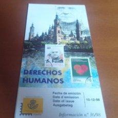 Sellos: FOLLETO INFORMACION Nº 36/98 DERECHOS HUMANOS 1998 10-12-98. Lote 261931330