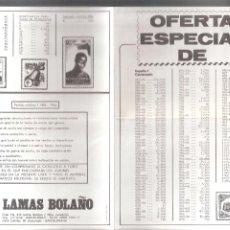 Sellos: SELLOS. OFERTA ESPECIAL. LAMAS BOLAÑO. 21X15 CM. DOBLEZ CENTRAL. DÍPTICO. Lote 261970675