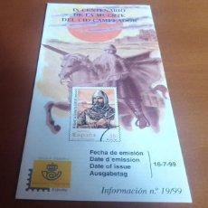 Sellos: FOLLETO INFORMACION Nº 19/99 IX CENTENARIO DE LA MUERTE DEL CID CAMPEADOR 1999 16-7-99. Lote 262041710