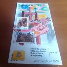 Sellos: FOLLETO INFORMACION Nº 20/99 ARTE ESPAÑOL II 1999 10-9-99. Lote 262042055