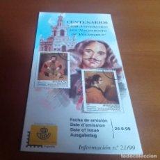 Sellos: FOLLETO INFORMACION Nº 21/99 CENTENARIOS 400 ANIVERSARIO DEL NACIMIENTO DE VELAZQUEZ 1999 24-9-99. Lote 262042395
