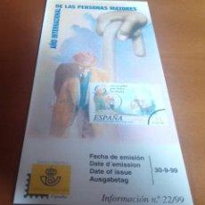 Sellos: FOLLETO INFORMACION Nº 22/99 AÑO INTERNACIONAL DE LAS PERSONAS MAYORES 1999 30-9-99. Lote 262042690