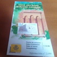 Sellos: FOLLETO INFORMACION Nº 23/99 ZONA DEL BAJO PIRINEO CATALAN 1999 1-10-99. Lote 262043000