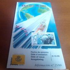 Sellos: FOLLETO INFORMACION Nº 25/99 DIA DEL SELLO 1999 9-10-99. Lote 262043710