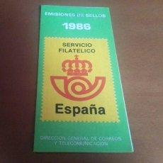 Sellos: FOLLETO EMISION DE SELLOS 1986 SERVICIO FILATELICO ESPAÑA. Lote 262264805