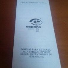 Sellos: NORMAS PARA LA VENTA DE LA EMISION ESPECIAL DE LOS SELLOS DE CORREOS DE ESPAÑA 84. Lote 262266095