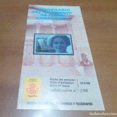 Sellos: FOLLETO INFORMACION N 2/88 I CENTENARIO DEL NACIMIENTO DE CLARA CAMPOAMOR 12-2-88. Lote 262951990