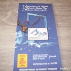 Sellos: FOLLETO CORREOS, INFORMACION Nº 16/86, V CAMPEONATO DEL MUNDO DE NATACION, WATERPOLO.... Lote 268727084