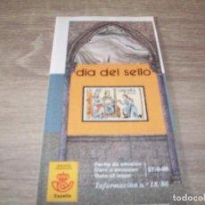 Sellos: FOLLETO CORREOS, INFORMACION Nº 18/86, DIA DEL SELLO. Lote 268727359