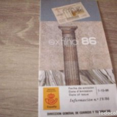 Sellos: FOLLETO CORREOS, INFORMACION Nº 19/86, EXFILNA 86. Lote 268727704