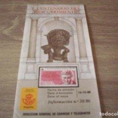 Sellos: FOLLETO CORREOS, INFORMACION Nº 20/86, V CENTENARIO DEL DESCUBRIMIENTO. Lote 268728439