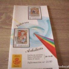 Sellos: FOLLETO CORREOS, INFORMACION Nº 21/85, VIDRIERAS ARTISTICAS. Lote 268728854