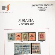 Sellos: SUBASTA DE EMISIONES LOCALES,REPUBLICANAS, PATRIOTICAS, CANARIAS. Lote 268743319