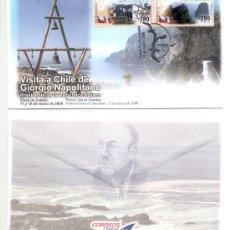 Sellos: CHILE 2008.- PRIMER DIA CIRCULACION. VISITA DEL PRESIDENTE DE LA REPUBLICA ITALIANA A CHILE. Lote 8801893