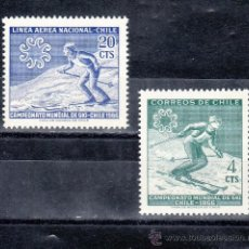 Sellos: CHILE 309, A 225 SIN CHARNELA, DEPORTE, PROPAGANDA DE LOS CAMPEONATOS DE ESQUI EN 1966 . Lote 25558754