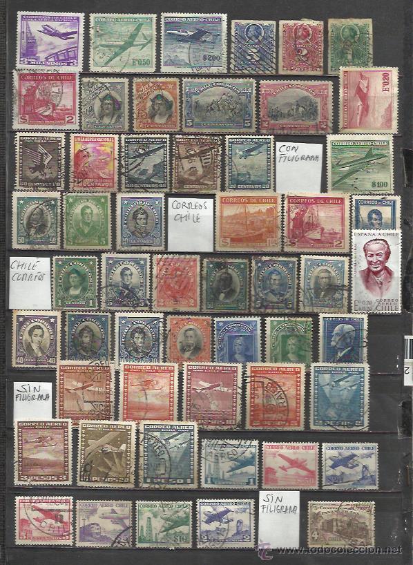8400--LOTE SELLOS CHILE ANTIGUOS,TODOS DIFERENTES,DISTINTOS FILIGRANA,SERIES,CHILE CORREOS Y CORREOS (Sellos - Extranjero - América - Chile)