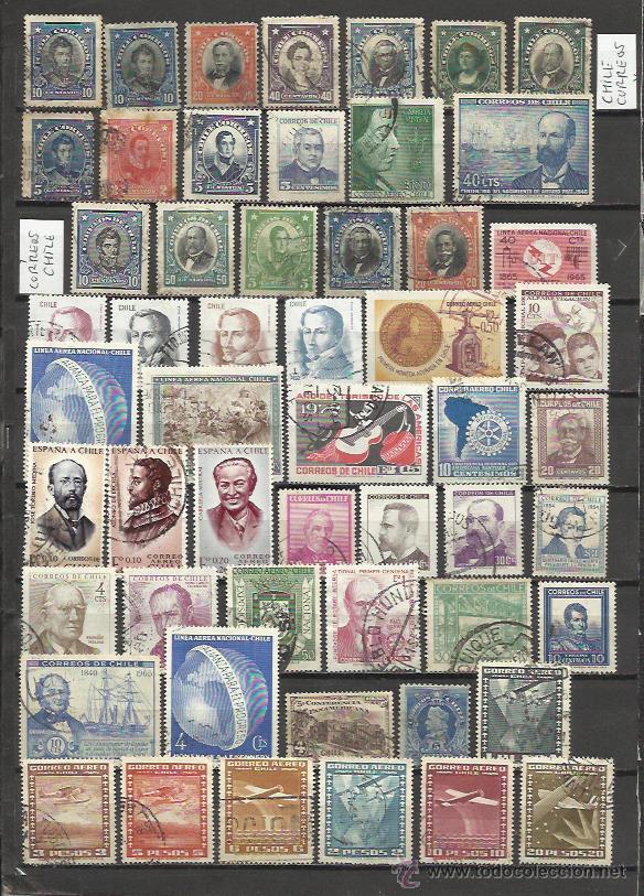 8402--LOTE SELLOS CHILE ANTIGUOS,TODOS DIFERENTES,DISTINTOS FILIGRANA,SERIES,CHILE CORREOS Y CORREOS (Sellos - Extranjero - América - Chile)