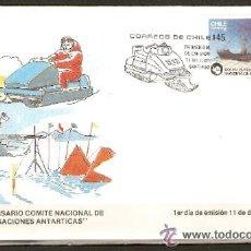 Sellos: CHILE SOBRE PRIMER DIA INVESTIGACIONES ANTARTICAS. Lote 53829065