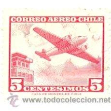 Sellos: 2-CHILE204BAE. SELLO USADO CHILE. YVERT Nº 204B AÉREO. AVIÓN Y TORRE DE CONTROL. Lote 54070843