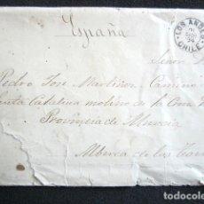 Sellos: AÑO 1894. CARTA DE LOS ANDES (CHILE) A ALBERCA DE LAS TORRES (MURCIA).. Lote 76675727