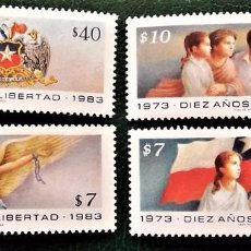 Sellos: CHILE. 633/36 10º ANIVERSARIO DE LA LIBERACIÓN NACIONAL: ESCUDO, BANDERA, LLAMA DE LA LIBERTAD Y ROT. Lote 96036763