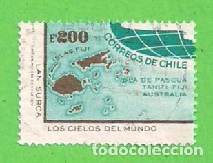 Chile Michel 814 Yvert 425 Mapa De Las Islas Fiji 1974