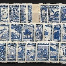 Sellos: CHILE 1948 HISTORIA NATURAL DE CHILE. FLORA Y FAUNA SERIE COMPLETA . Lote 109582619