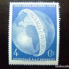 Sellos: CHILE 1963 HOMENAJE A J. F. KENNEDY YVERT PA 217 ** MNH. Lote 118728879