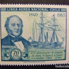 Sellos: CHILE 1966 LA LLEGADA DEL BARCO DE VAPOR YVERT PA 231 ** MNH. Lote 118766523