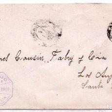 Sellos: CHILE, COVER DE PISAGUA A LOS ANJELES AÑO 1907, BANCO DE CHILE, AGENCIA PISAGUA. Lote 132559030