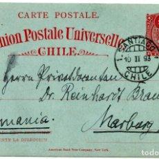 Sellos: CHILE, ENTERO POSTAL DE SANTIAGO A ALEMANIA, 1893. Lote 132560062