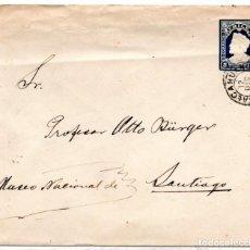 Sellos: CHILE, SOBRE COLON DE 5 CENTAVOS, DE TALCAHUANO A SANTIAGO AÑO 1909. Lote 132563686