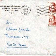 Sellos: CHILE, SOBRE DE TALCA A PUERTO VARAS, AÑO 1976, INCLUYE CARTA. Lote 132720922