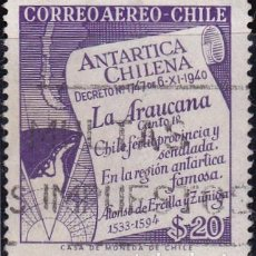 Sellos: 1958 - CHILE - ANTARTICA CHILENA - DECRETO - YVERT PA 176. Lote 151478730