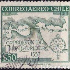 Sellos: 1959 - CHILE - IV CENTENARIO EXPEDICION DE JUAN LADRILLERO - ESTRECHO DE MAGALLANES - YVERT PA 185. Lote 151479618