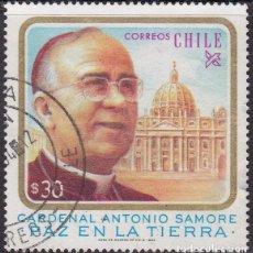 Sellos: 1983 - CHILE - CARDENAL ANTONIO SAMORE - MEDIADOR DEL CONFLICTO DE BEAGLE - YVERT 627. Lote 151627810