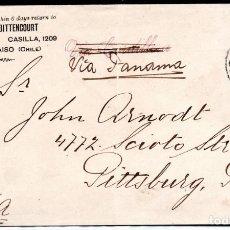 Sellos: CHILE, SOBRE, DE VALPARAISO A USA, VIA PANAMÁ, AÑO 1908. Lote 155802422