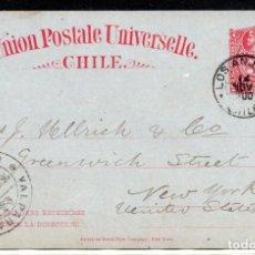 Sellos: CHILE, ENTERO POSTAL, LOS ANJELES A USA, AÑO 1900. Lote 155806614