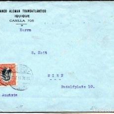 Sellos: CHILE, SOBRE, BANCO ALEMÁN DE IQUIQUE A AUSTRIA. Lote 156511514